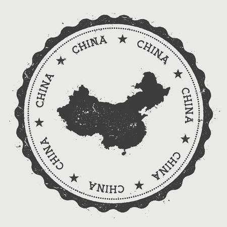 China hipster round rubber stamp with country map. Vintage passport stamp with circular text and stars, vector illustration.