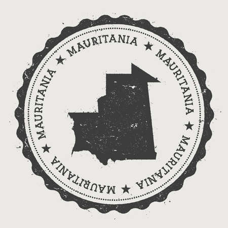 Mauritania hipster round rubber stamp with country map. Vintage passport stamp with circular text and stars, vector illustration.