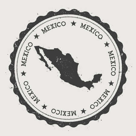 Mexico hipster round rubber stamp with country map. Vintage passport stamp with circular text and stars, vector illustration.