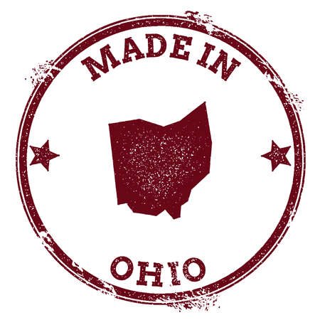 Ohio vector seal. Vintage USA state map stamp. Grunge rubber stamp with Made in Ohio text and USA state map, vector illustration.