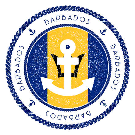 Nautical Travel Stamp with Barbados Flag and Anchor. Marine rubber stamp, with round rope border and anchor symbol on flag background. Vector illustration. Illustration