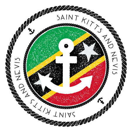 Nautical Travel Stamp with Saint Kitts And Nevis Flag and Anchor. Marine rubber stamp, with round rope border and anchor symbol on flag background. Vector illustration.
