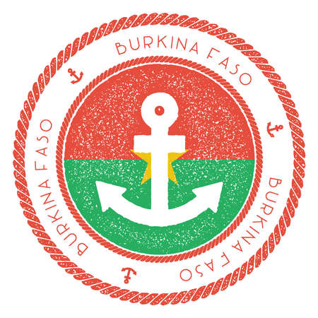 Nautical travel stamp with Burkina Faso flag and anchor. Marine rubber stamp, with round rope border and anchor symbol on flag background. Vector illustration. Illustration