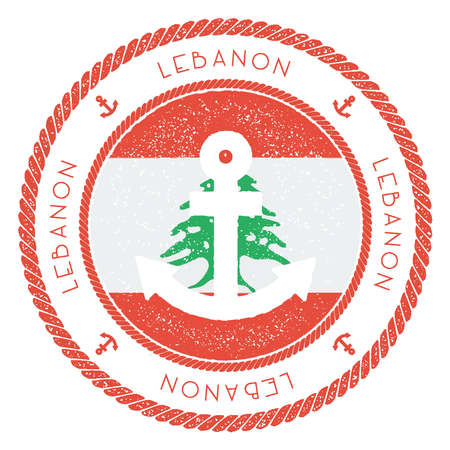Nautical Travel Stamp with Lebanon Flag and Anchor.