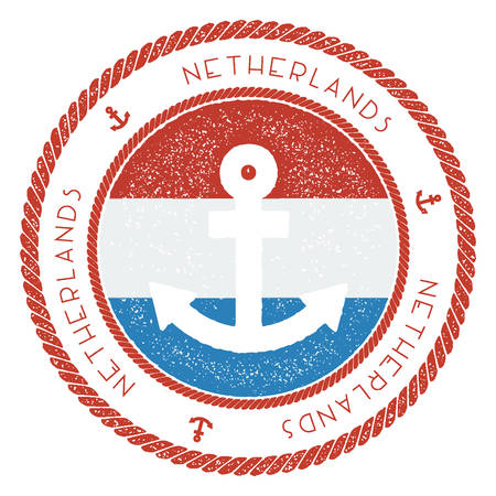 Nautical Travel Stamp with Netherlands Flag and Anchor. Illustration