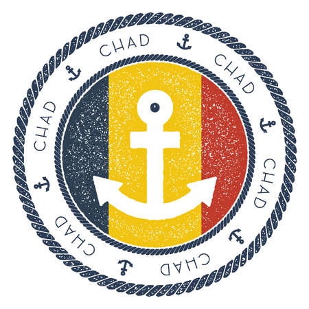Nautical Travel Stamp with Chad Flag and Anchor. Marine rubber stamp, with round rope border and anchor symbol on flag background. Vector illustration.