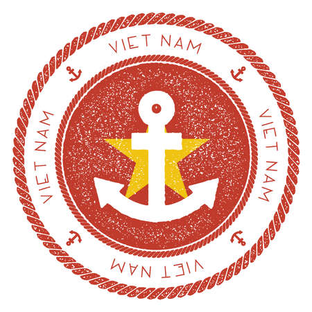 Nautical Travel Stamp with Vietnam Flag and Anchor. Marine rubber stamp, with round rope border and anchor symbol on flag background. Vector illustration. Vettoriali