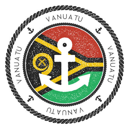 Nautical Travel Stamp with Vanuatu Flag and Anchor. Marine rubber stamp, with round rope border and anchor symbol on flag background. Vector illustration.