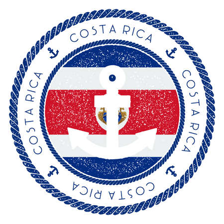 Nautical Travel Stamp with Costa Rica Flag and Anchor. Marine rubber stamp, with round rope border and anchor symbol on flag background. Vector illustration.