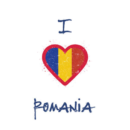 I love Romania t-shirt design. Romanian flag in the shape of heart on white background. Grunge vector illustration.