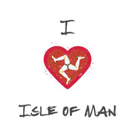 I love Isle of Man t-shirt design. Manx flag in the shape of heart on white background. Grunge vector illustration.