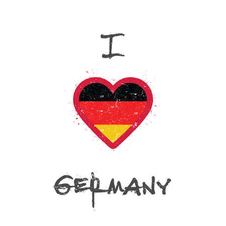 I love Germany t-shirt design. German flag in the shape of heart on white background. Grunge vector illustration. Çizim