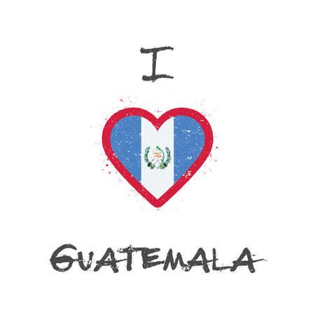 I love Guatemala t-shirt design. Guatemalan flag in the shape of heart on white background. Grunge vector illustration.