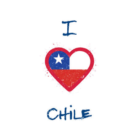 I love Chile t-shirt design. Chilean flag in the shape of heart on white background. Grunge vector illustration.