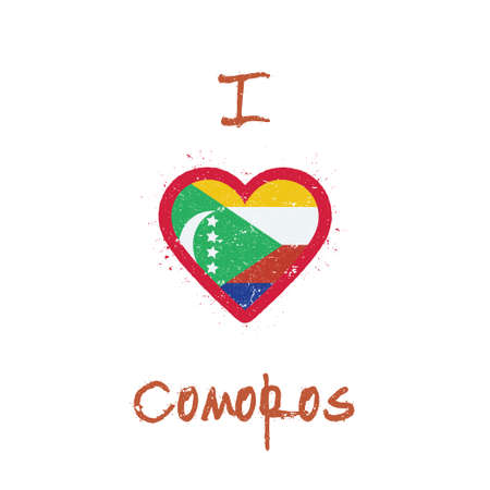 I love Comoros t-shirt design. Comoran flag in the shape of heart on white background. Grunge vector illustration. Çizim