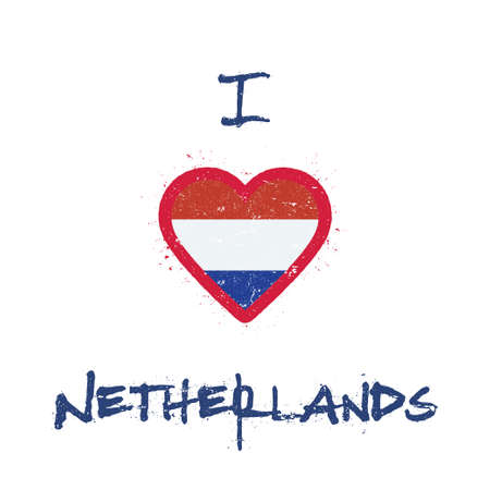 I love Netherlands t-shirt design. Dutch flag in the shape of heart on white background. Grunge vector illustration. Çizim