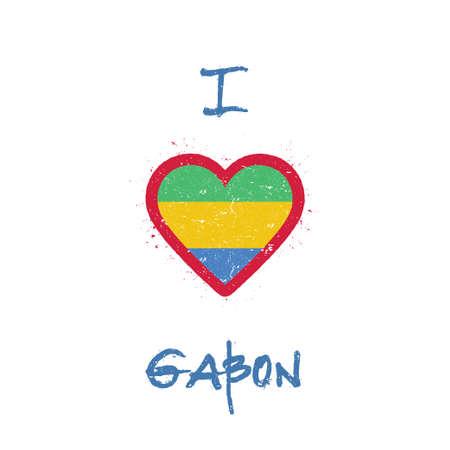 I love Gabon t-shirt design. Gabonese flag in the shape of heart on white background. Grunge vector illustration. Çizim