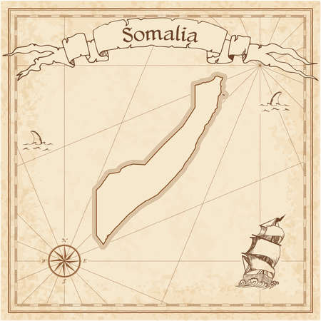 Somalia old treasure map. Sepia engraved template of pirate map. Stylized pirate map on vintage paper.