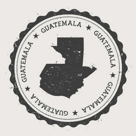 Guatemala hipster round rubber stamp with country map. Vintage passport stamp with circular text and stars, vector illustration.