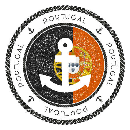Nautical Travel Stamp with Portugal Flag and Anchor. Marine rubber stamp, with round rope border and anchor symbol on flag background. Vector illustration.