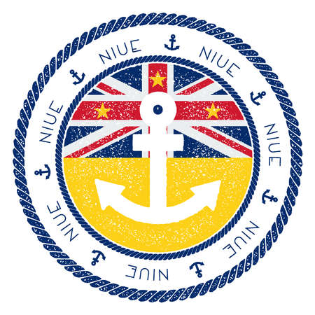 Nautical Travel Stamp with Niue Flag and Anchor. Marine rubber stamp, with round rope border and anchor symbol on flag background. Vector illustration. Illustration