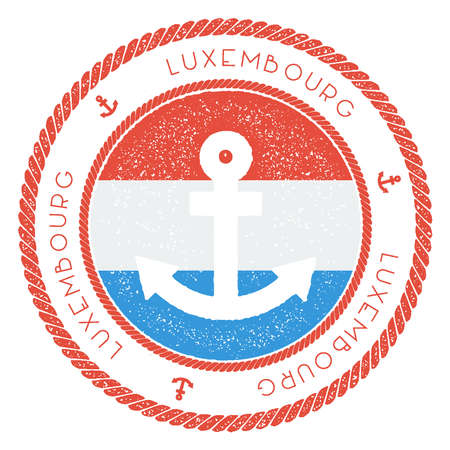 Nautical Travel Stamp with Luxembourg Flag and Anchor. Marine rubber stamp, with round rope border and anchor symbol on flag background. Vector illustration.
