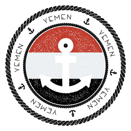 Nautical Travel Stamp with Yemen Flag and Anchor. Marine rubber stamp, with round rope border and anchor symbol on flag background. Vector illustration. Illustration
