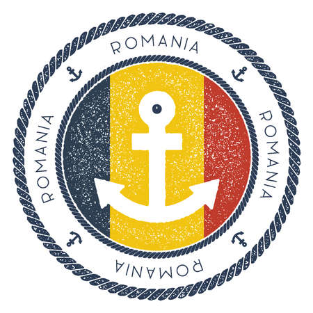 Nautical Travel Stamp with Romania Flag and Anchor. Marine rubber stamp, with round rope border and anchor symbol on flag background. Vector illustration.