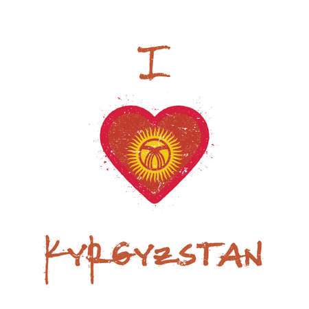I love Kyrgyzstan t-shirt design. Kirghiz flag in the shape of heart on white background. Grunge vector illustration.