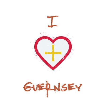 I love Guernsey t-shirt design. Channel Islander flag in the shape of heart on white background. Grunge vector illustration.