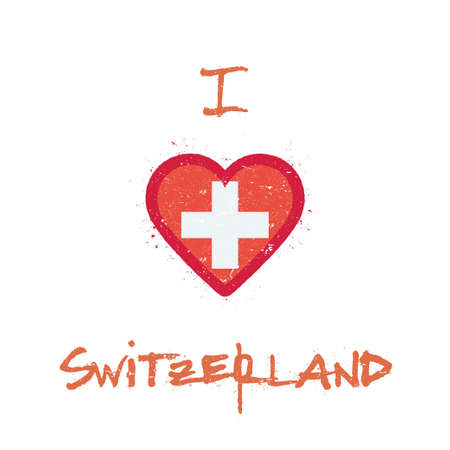 I love Switzerland t-shirt design. Swiss flag in the shape of heart on white background. Grunge vector illustration. Çizim