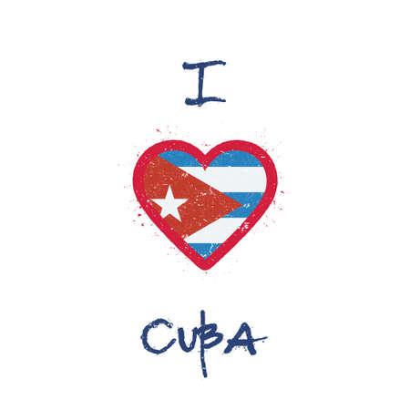 Me encanta el diseño de camiseta de Cuba. Bandera cubana en forma de corazón sobre fondo blanco. Ilustración de vector Grunge.