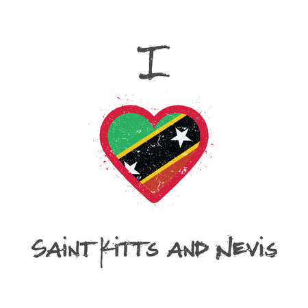 I love Saint Kitts And Nevis t-shirt design. Kittian and Nevisian flag in the shape of heart on white background. Grunge vector illustration. Çizim