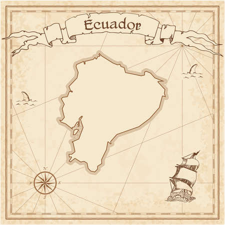Ecuador old treasure map. Sepia engraved template of pirate map. Stylized pirate map on vintage paper.