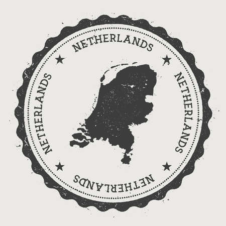 Netherlands hipster round rubber stamp with country map. Vintage passport stamp with circular text and stars, vector illustration.