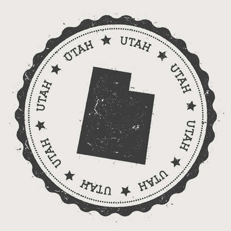 Utah vector sticker. Hipster round rubber stamp with US state map. Vintage passport stamp with circular Utah text and stars, USA map vector illustration.