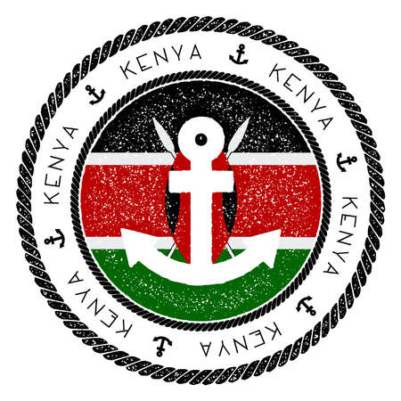 Nautical Travel Stamp with Kenya Flag and Anchor.