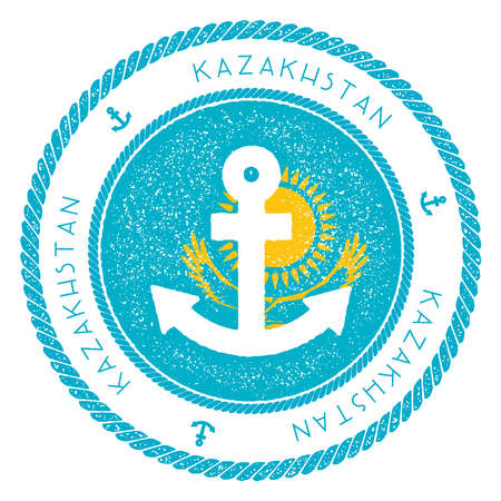 Nautical travel stamp with Kazakhstan flag and anchor. Marine rubber stamp, with round rope border and anchor symbol on flag background. Vector illustration. Vettoriali