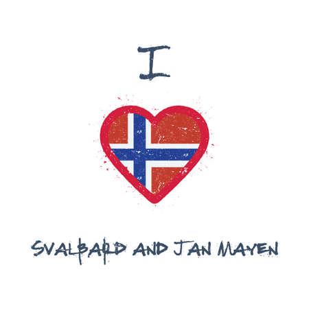 I love Svalbard And Jan Mayen t-shirt design. Norwegian flag in the shape of heart on white background. Grunge vector illustration.