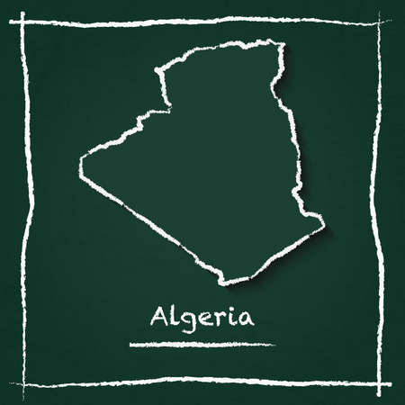 Algeria outline vector map hand drawn with chalk on a green blackboard. Chalkboard scribble in childish style. White chalk texture on green background.