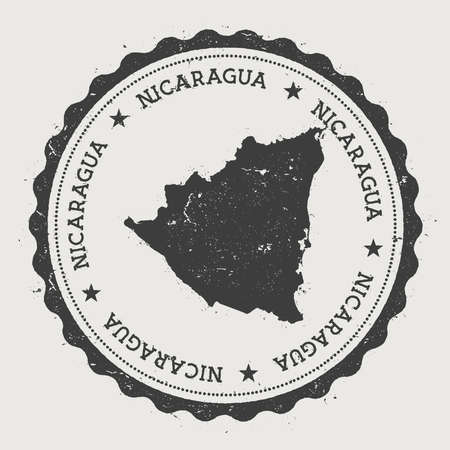 Nicaragua hipster round rubber stamp with country map. Vintage passport stamp with circular text and stars, vector illustration. Vettoriali