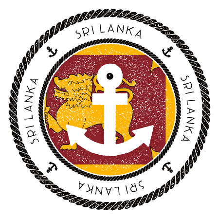 Nautical Travel Stamp with Sri Lanka Flag and Anchor. Marine rubber stamp, with round rope border and anchor symbol on flag background. Vector illustration.