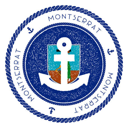 Nautical Travel Stamp with Montserrat Flag and Anchor. Marine rubber stamp, with round rope border and anchor symbol on flag background. Vector illustration.