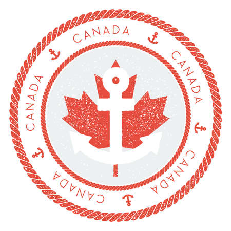 Nautical Travel Stamp with Canada Flag and Anchor. Marine rubber stamp, with round rope border and anchor symbol on flag background. Vector illustration.