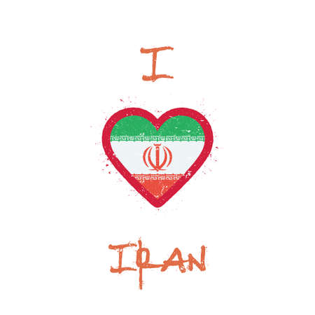 I love Iran, Islamic Republic Of t-shirt design. Iranian flag in the shape of heart on white background. Grunge vector illustration. Illustration