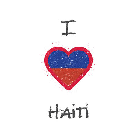 I love Haiti t-shirt design. Haitian flag in the shape of heart on white background. Grunge vector illustration.
