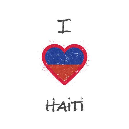 I love Haiti t-shirt design. Haitian flag in the shape of heart on white background. Grunge vector illustration.