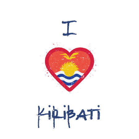 I love Kiribati t-shirt design. I-Kiribati flag in the shape of heart on white background. Grunge vector illustration.