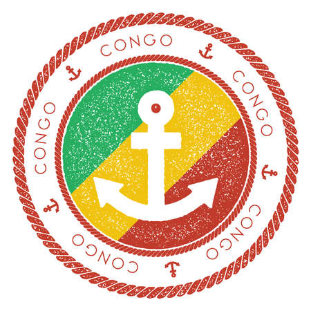 Nautical Travel Stamp with Congo Flag and Anchor. Marine rubber stamp, with round rope border and anchor symbol on flag background. Vector illustration. Illustration