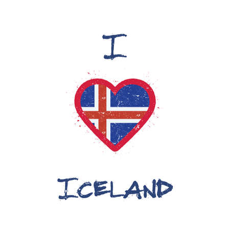 I love Iceland t-shirt design. Icelander flag in the shape of heart on white background. Grunge vector illustration.